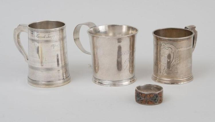 THREE AMERICAN SILVER MUGS