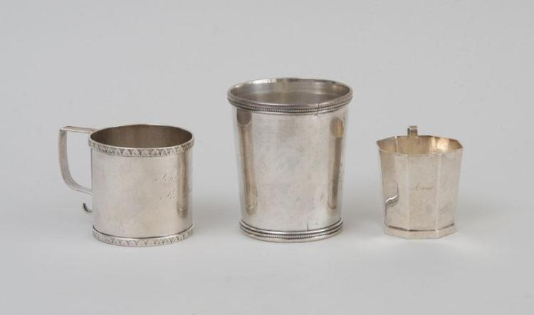TWO AMERICAN SILVER MUGS AND AN AMERICAN SILVER JULEP CUP
