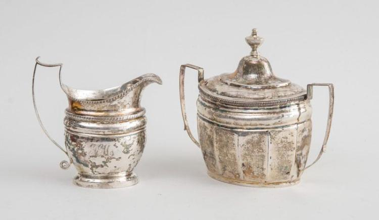 AMERICAN SILVER SUGAR BOWL AND COVER AND AN AMERICAN SILVER CREAMER