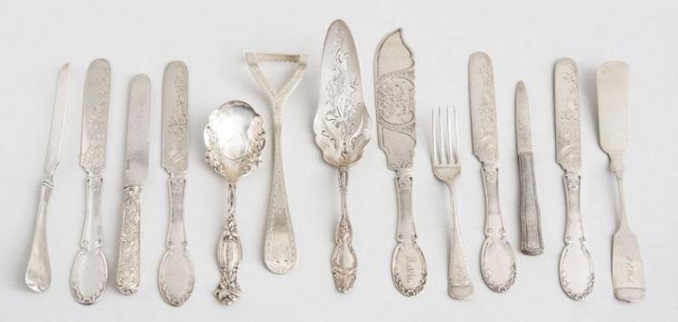 GROUP OF THIRTEEN AMERICAN SILVER FLATWARE