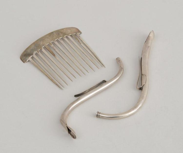 TWO AMERICAN SILVER STRAWS AND A SILVER COMB