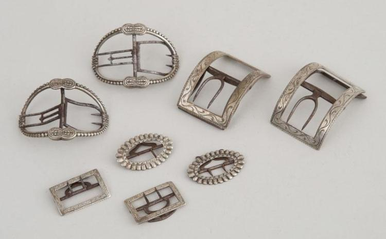 FOUR PAIRS OF AMERICAN SILVER BUCKLES