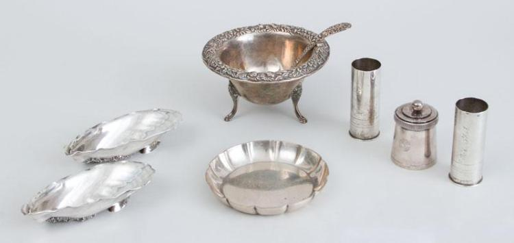 PAIR OF GORHAM SILVER SHELL-FORM SALTS AND FIVE OTHER AMERICAN SILVER ARTICLES