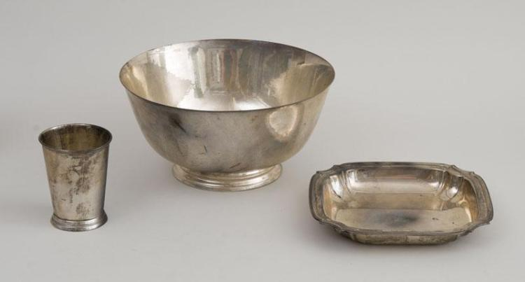 THREE AMERICAN SILVER HOLLOWWARE ARTICLES AND AN ENGLISH SILVER VEGETABLE DISH AND COVER