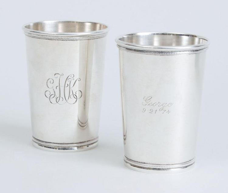 PAIR OF TIFFANY & CO. MONOGRAMMED SILVER JULEP CUPS
