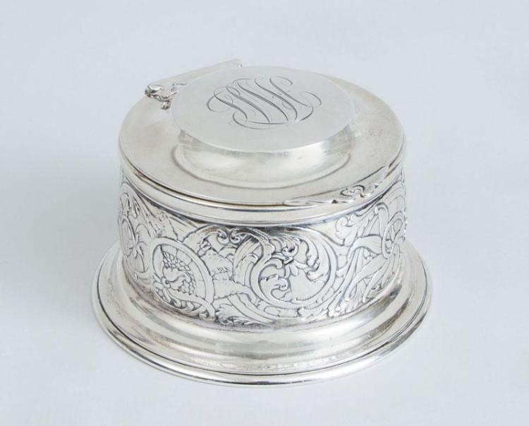 TIFFANY & CO. GLASS-LINED MONOGRAMMED SILVER INKWELL