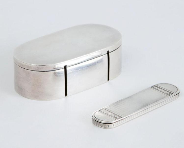TIFFANY & CO. SILVER STAMP BOX AND A FRENCH SILVER TOOTH PICK BOX, MADE FOR TIFFANY & CO.