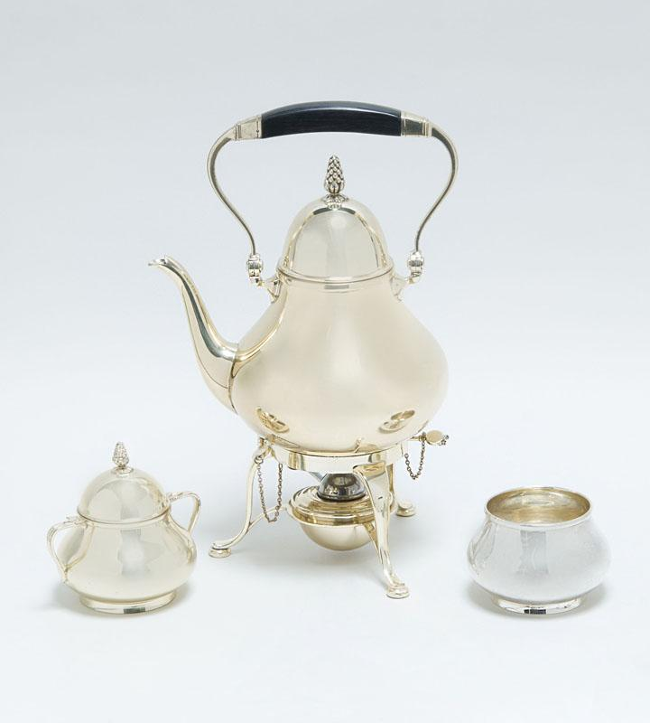TIFFANY & CO. SILVER THREE-PIECE PART TEA SERVICE