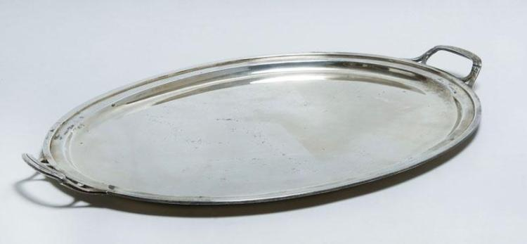 TIFFANY & CO. SILVER TWO-HANDLED OVAL TRAY