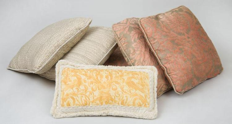 GROUP OF SIX FORTUNY FABRIC-COVERED PILLOWS