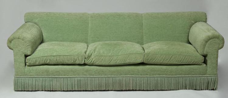Green chenille upholstered three seat sofa for Green chenille sectional sofa