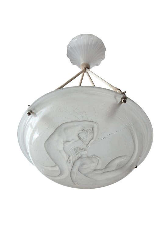 "Rare R. Lalique Chandelier ""Deux Sirenes"""