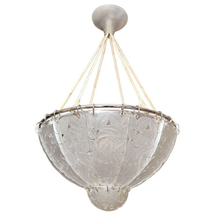 """Rene Lalique Chandelier """"Feuilles de Charmes"""""""