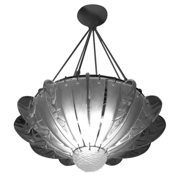 "French Art Deco Chandelier by Rene Lalique ""Hirondelles"""