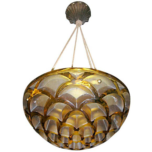 "Art Deco Chandelier by Rene Lalique ""Rinceaux"""
