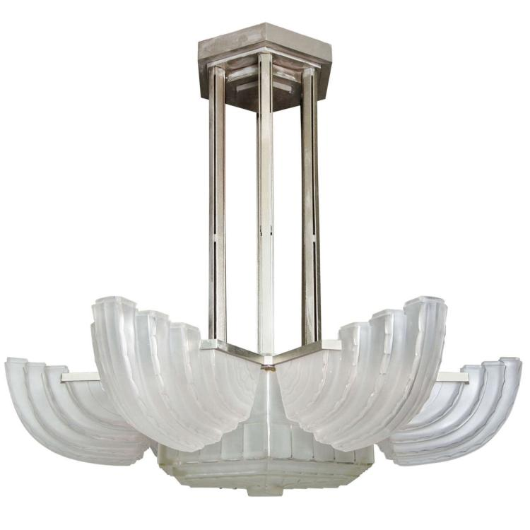 Large and Important Art Deco Chandelier by Sabino
