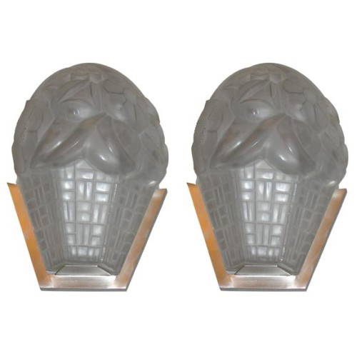 Signed French Art Deco Wall-Sconces by Degue