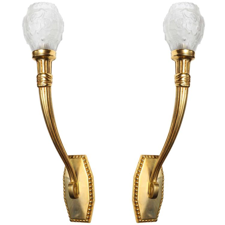 Maurice Dufrene Elegant Pair of Art Deco Wall Sconces