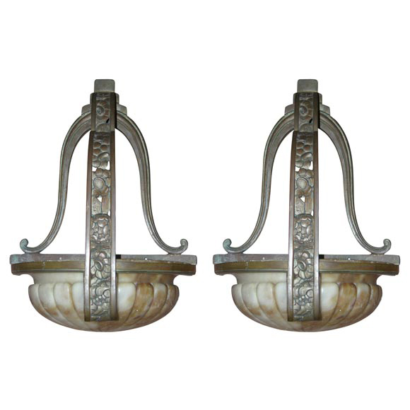 Pair of French Art Deco Alabaster Sconces