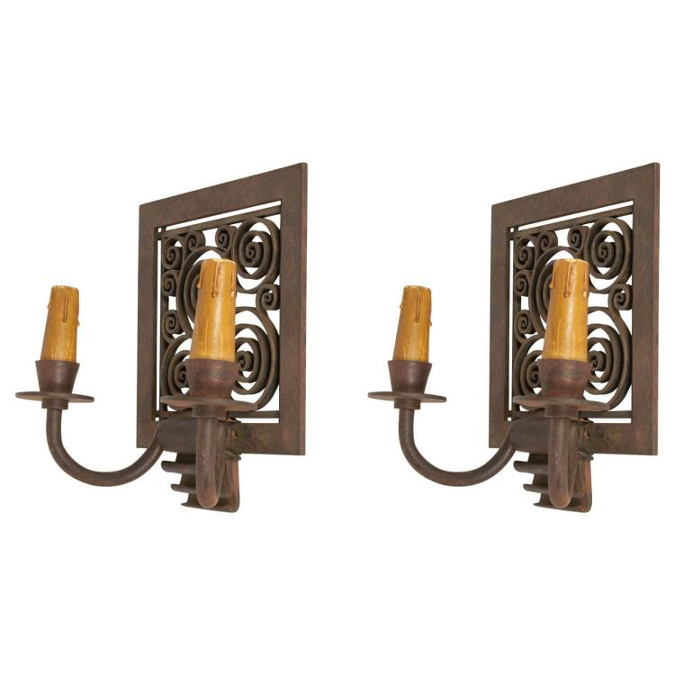 Edgar Brandt Pair of Wall Sconces