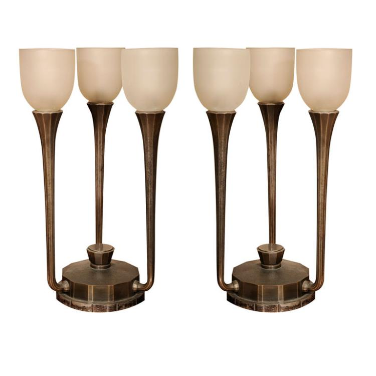 Pair of Art Deco 3-Light Table Lamps by J. Codure