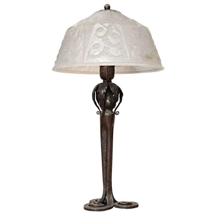 Art Deco Table Lamp by Edgar Brandt & Daum