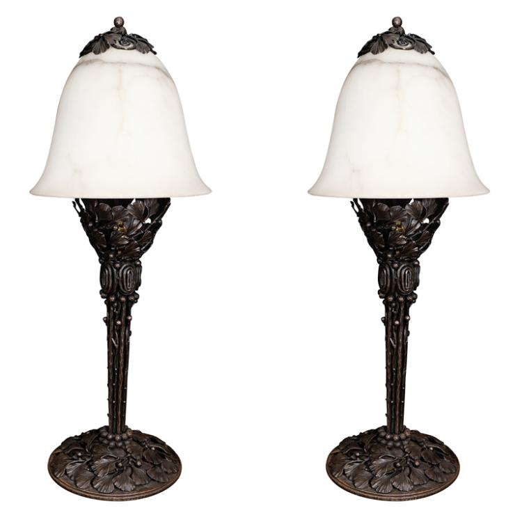 Pair of Edgar Brandt table lamps