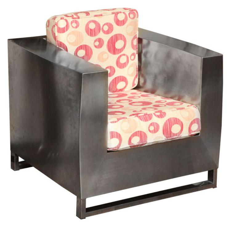 Jonathan Singleton Stainless Steel Cube Lounge Chair