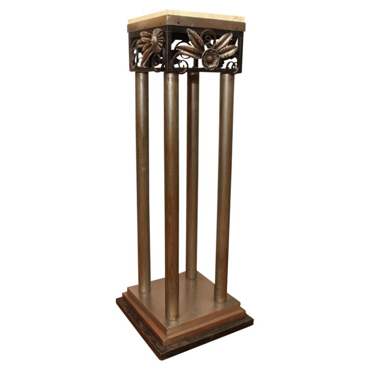 Art Deco Steel and Wrought Iron Pedestal