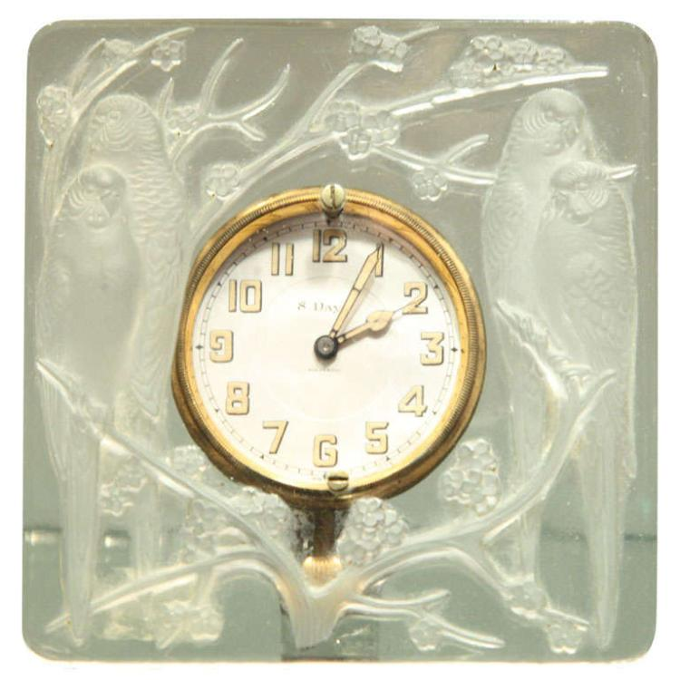 "Art Deco Clock ""Inseparables"" by Rene Lalique"