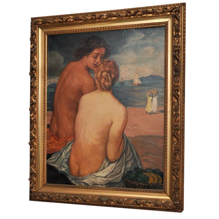 "EMILE BERNARD Post-Impressionist Oil on Canvas, ""Nus de Dos"""