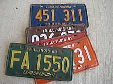 5 pc. Vintage Illinois Licence Plates