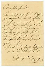 SCHWIND, Moritz von, 1804-1871. E.Br.m.U. Wohl Frankfurt a.M. o.D. 1 S. gr.