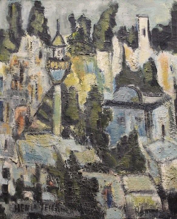 Henia Teichman (Israeli) , Jerusalem Rooftops, oil on canvas