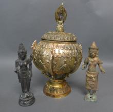 Bronze Buddhist Sculptures and Censer