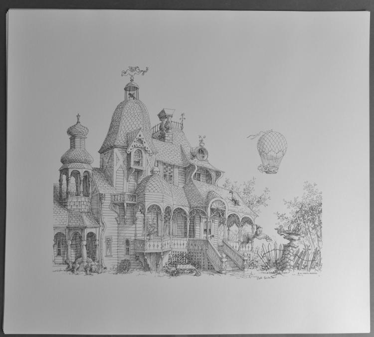 Black & Whit Prints of Victorian House, Haunted