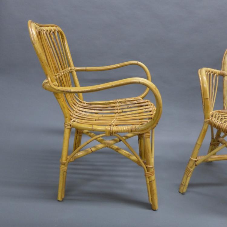 Pair bent wood rattan bamboo arm chairs for Bent bamboo furniture