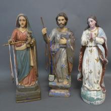 Three Antique Santos Figural Sculptures