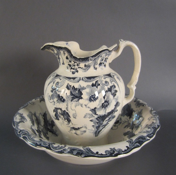 Blue & White Pitcher and Wash Basin
