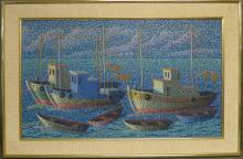 Signed Pointillism Painting