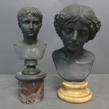 Two Grand Tour Patinated Bronze Busts