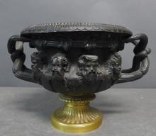 Antique Patinated Bronze Centerpiece Warwick Vase