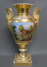 Old Paris Neoclassical Porcelain Urn