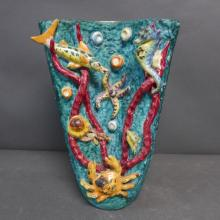 Majolica Vase with Sea Life Motif