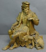 Gilt Painted Spelter Figural Statue