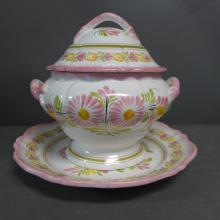Henriot Quimper Faience Soup Tureen & Underplate