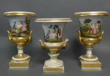 Three Old Paris Porcelain Campagna Urns