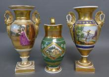 Old Paris Neoclassical Vases and Pitcher