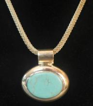 Sterling and Turquoise Pendant & Chain