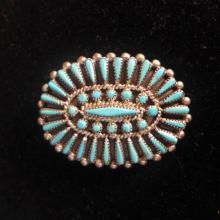 Sterling & Turquoise Petit Point Zuni Pendant